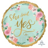 "She Said Yes Satin Luxe 18"" Mint Foil Balloon"