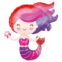"Red Purple Lovely Mermaid 29"" Foil Balloon"