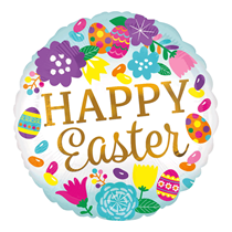 "Happy Easter Eggs & Flower 18"" Foil Balloon"