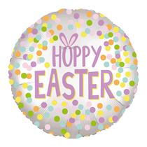 "Hoppy Easter Silver Satin Luxe 18"" Foil Balloon"