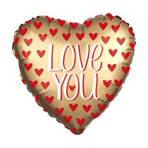 "Satin Luxe Gold Love You 28"" Heart Foil Balloon"