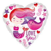 "Mermaid Narwhal Love You 18"" Heart Foil Balloon"