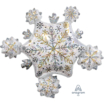 """Christmas Snowflake Holographic Cluster 32"""" Foil Balloon"""