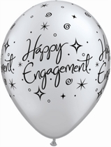 "Assorted Engagement Elegant Sparkles 11"" Latex Balloons 25pk"