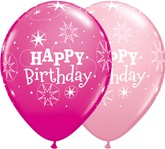 "Happy Birthday Wild Berry & Pink Latex 11"" Balloons 25pk"
