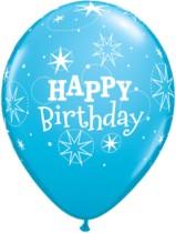 "11"" Dark and Light Blue Happy Birthday Latex Sparkle Balloons - 25pk"