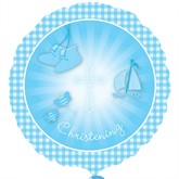 """Blue Christening Booties 18"""" Foil Balloon"""