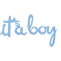 Pastel Blue It's A Boy Script Foil Balloon