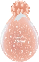 "Just Married 18"" Clear Latex Stuffing Balloons 25pk"