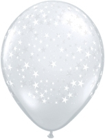 "Diamond Clear Stars 5"" Latex Balloons 100pk"