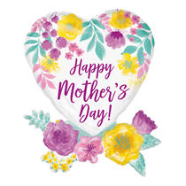 """Mother's Day Watercolour Flowers 30"""" Foil Balloon"""