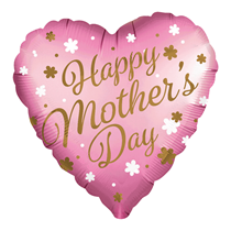 """Happy Mother's Day Pink Satin Luxe 18"""" Foil Heart Balloon"""