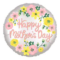 "Happy Mother's Day Silver Satin Luxe 18"" Foil Balloon"