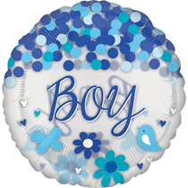 "Baby Boy 28"" Clear Foil Balloon With Confetti"