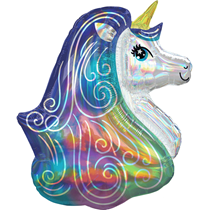 """Iridescent Rainbow Unicorn 30"""" Foil SuperShape Balloon"""