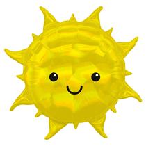 "Iridescent Smiling Sun 27"" Foil Balloon"