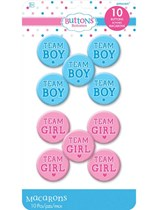 Baby Gender Reveal Team Boy/ Team Girl Badges 10pk