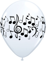 "White Musical Notes 11"" Latex Balloons 25pk"