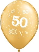 """Gold 50 Printed Latex 11"""" Balloons 25pk"""