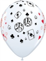 "11"" White Cards and Dice Casino Latex Balloons - 25pk"
