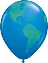 "Planet Earth Globe 11"" Latex Balloons 25pk"