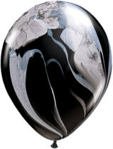 "11"" Black & White SuperAgate Latex Balloons 25pk"