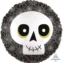 """Halloween Skull Satin Luxe 18"""" Foil Balloon"""