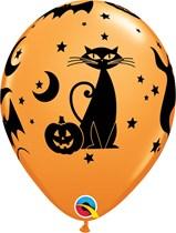 """Halloween Spooky Icons 11"""" Orange Latex Balloons 25pk"""