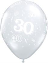 "Diamond Clear 30th Birthday Latex 11"" Balloons - 50pk"
