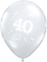 "40th Birthday Diamond Clear 11"" Latex Balloons - 50pk"