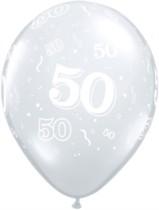 "11"" 50th Birthday Diamond Clear Balloons - 50pk"