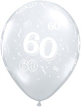 "11"" 60th Birthday Diamond Clear Balloons - 50pk"