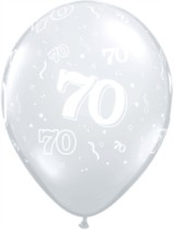 "11"" 70th Birthday Diamond Clear Balloons - 50pk"