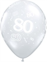 "11"" 80th Birthday Diamond Clear Balloons - 50pk"