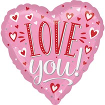 "Valentine's Love You Pink 18"" Foil Heart Balloon"