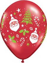 """Red Santa & Christmas Tree 11"""" Latex Balloons 50pk"""