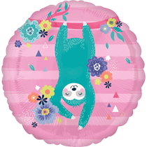 "Upside Down Sloth 18"" Pink Foil Balloon"