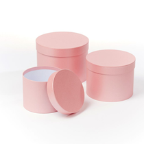 Pale Pink Round Lined Hat Boxes - Set of 3