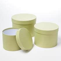 Sage Green Round Lined Hat Boxes - Set of 3