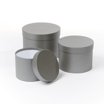 Grey Round Lined Hat Boxes - Set of 3