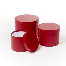 Red Round Lined Hat Boxes - Set of 3