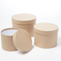 Natural Round Lined Hat Boxes - Set of 3