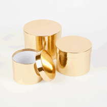 Metallic Gold Round Lined Hat Boxes - Set of 3