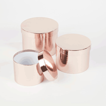 Metallic Rose Gold Round Lined Hat Boxes - Set of 3