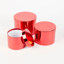 Metallic Red Round Lined Hat Boxes - Set of 3