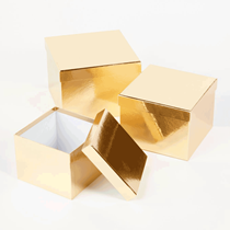Metallic Gold Square Lined Hat Boxes - Set of 3