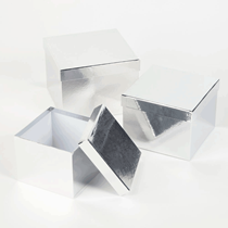 Metallic Silver Square Lined Hat Boxes - Set of 3