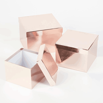 Metallic Rose Gold Square Lined Hat Boxes - Set of 3
