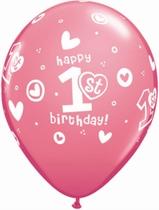 Rose 1st Birthday Latex Balloons 25pk