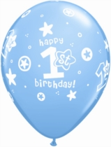 Pale Blue 1st Birthday Latex Balloons 25pk